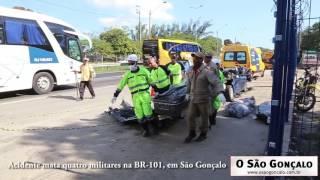 Acidente mata quatro militares na BR-101, em São Gonçalo