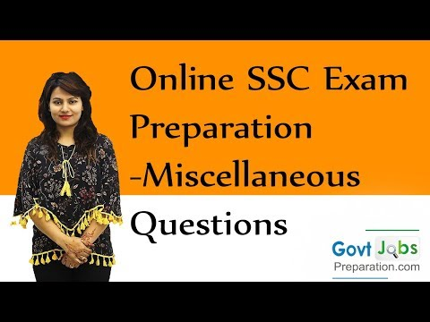 Online SSC Exam Preparation-Miscellaneous Questions