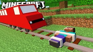 BE CRUSHED BY A TRAIN in Minecraft!