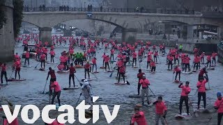 Hundreds Take Part In Stand Up Paddleboard Race On Paris Seine