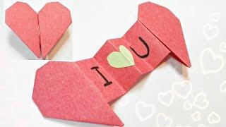 Diy 3d origami valentine heart envelope love secret message for beginners, valentine's day card gift