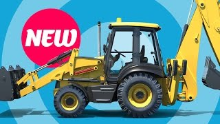 Backhoe Excavator for Kids - 3D Educational Cartoon - Diggers for Children at Construction Site