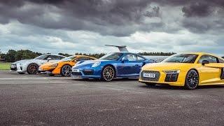 McLaren 570S vs Porsche 911 Turbo S vs Audi R8 vs Nissan GT-R - Top Gear: Drag Races
