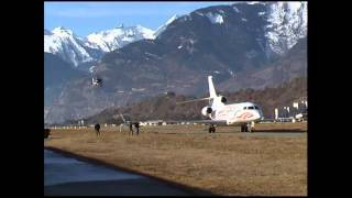 No comment - first visit of a Falcon 7X at Sion LSGS - year unknown