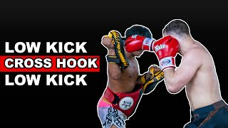 Muay Thai Combination - Low Kick, Cross, Hook, Low Kick