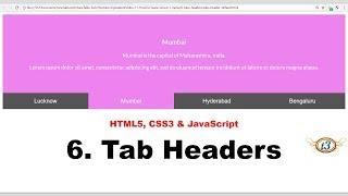 6. Tab Headers   Menu   HowToCreate Series   HTML5, CSS3 & JavaScript