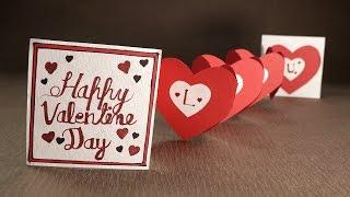 Handmade Valentine Card  Accordion Heart Love Card for Valentine's Day
