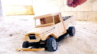 How to Make a Wooden RC Truck (toyota land cruiser pickup)