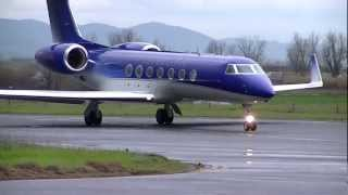Azerbaijan Government - Gulfstream G550 4K-A106 takes off from Florence (HD)
