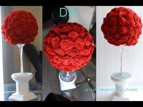 DIY Paper Rose Topiary Topario de Rosas de Papel