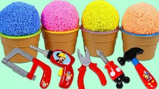 Opening PLAY FOAM Surprise Ice Cream Scoops with Disney Mickey Mouse Pretend Tools & Kinder Eggs!