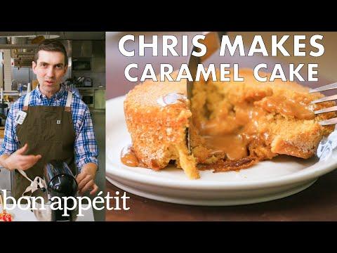 Chris Makes Molten Caramel Cake From the Test Kitchen Bon Appétit