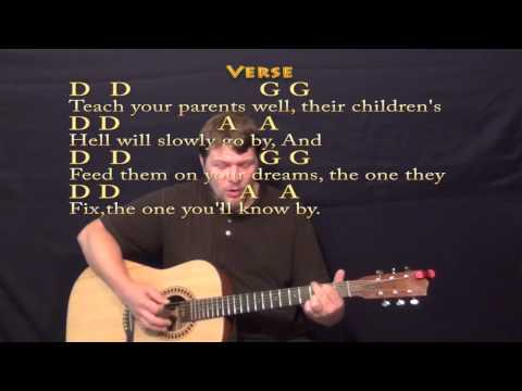 Teach Your Children (CSN&Y) Strum Guitar Cover Lesson with LyricsChords