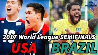 USA vs. BRAZIL - World League 2017 SEMIFINALS - ALL BREAKS REMOVED
