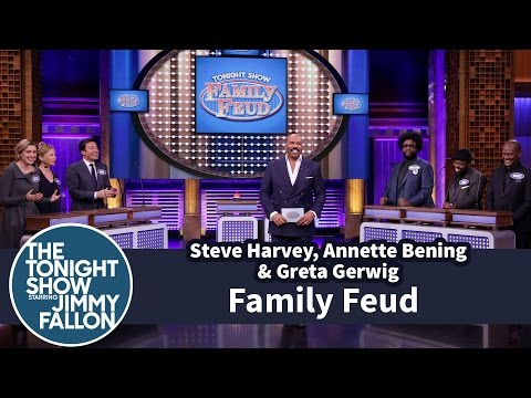 Tonight Show Family Feud with Steve Harvey Annette Bening and Greta Gerwig