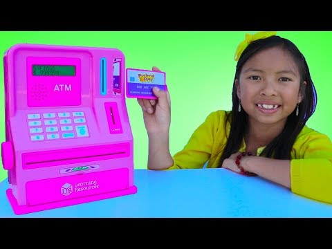 Wendy Pretend Play with ATM Machine Toy Kid Learning How To Save Money