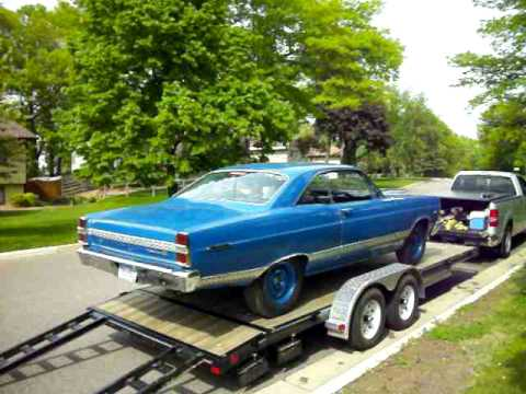 67 Fairlane being unloaded after day of test and tune