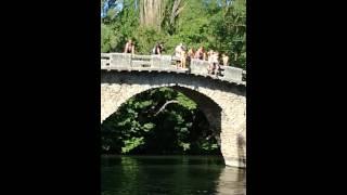 Niña.de 8 años se tira de un puente de 8 o.9 metros