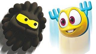 Funny Cartoons For Kids   Squishy Balls Vs Wonderballs Fighting For The Apple - Wonderballs Official