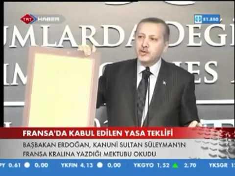 Başbakan Recep Tayyip Erdoğan'dan Sarkozy'e Kanuni Sultan Süleyman'ın Mektubuyla Tavsiye