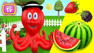 Learn colors with octopus - Learn vegetables and fruits education video for kids