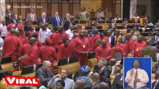 Fight Break out in South African Parliament Between EFF and Security