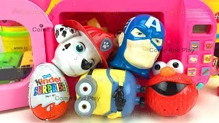 Microwave Super Surprise Eggs Kinder Surprise ELMO Superhero Paw Patrol Minions Learn Colors Kids