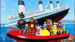 ANIMATRONICS ON THE SINKING TITANIC! (GTA 5 Mods For Kids FNAF RedHatter)