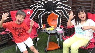 巨大クモ!!? 出たー!! バーベキューパーティー おもちゃ おままごと こうくんねみちゃん Giant Spider Attack