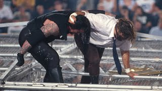 The Undertaker throws Mankind off the top of the Hell in a Cell: June 28, 1998 - King of the Ring