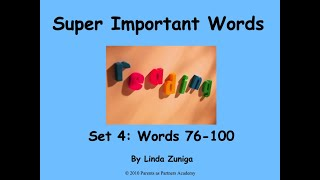 Super Important Words Set 4: Words 76-100 by Linda Zuniga