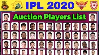 IPL 2020 Auction - Final List of All Players for Vivo IPL 2020 Auction