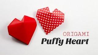 Origami Puffy Heart Instructions - 3D Paper Heart  ♥︎ DIY ♥︎ Paper Kawaii