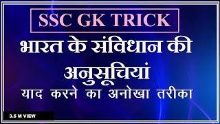 #gk trick / भारत के संविधान की अनुसूचियां/Schedules of indian constitution