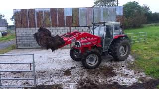 Mucking out Massey ferguson 375
