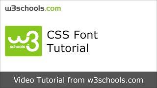 W3Schools CSS Font Tutorial