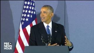 Barack Obama says goodbye to his staffers on Inauguration Day 2017