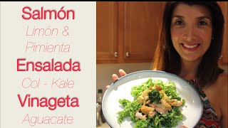 Ensalada de Salmón con Col y Aguacate- Salmon Kale Salad