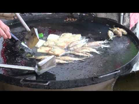 Fast Chinese Food Cooking Frying Fish in Kaiping China Hoiping