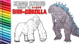 Godzilla VS King Kong Drawing and Coloring For Kids - Learning Colors and How to Draw Animals