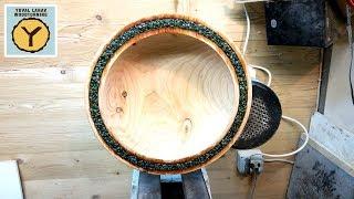 Woodturning Mineral Inlaid Cypress Bowl