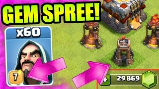 Clash Of Clans - GEMMING THE NEW UPDATE!! - BUYING NEW DEFENSE , NEW TROOP LEVELS + MORE!