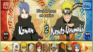 Naruto Shippuden ultimate ninja Impact psp todos los personajes