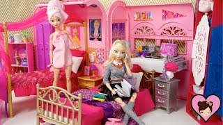 Barbie Elsa & Anna  School Evenight Routine -  Rapunzel Pink Spa Bath & Dorm Room