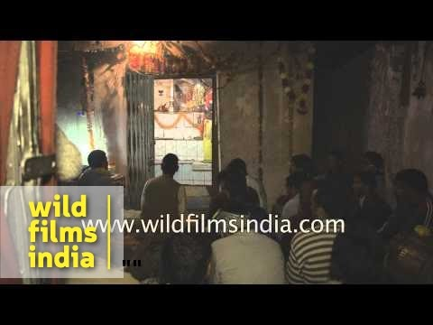 Devotees gather for aarti:  Sheetkalin Yamuna Mandir at Kharsali Village