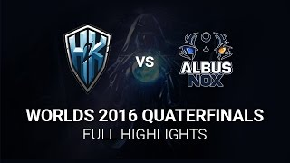 H2K vs Albus Nox Luna Highlights All Games, S6 Worlds 2016 Quarter final, H2K vs ANX