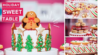 How To Make A GINGERBREAD MEGA CAKE! A HOLIDAY SWEET TABLE Filled With Festive Treats!