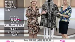 Olympia Faux Furs Shawl Collar Jacket with Turnback Cuffs at The Shopping Channel 577482