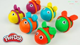 Learn Colors Play Doh Making Rainbow Bee Molding Clay Fun and Creative for Kids