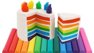 Modelling Clay Rainbow Cake Creative Fun for Kids with Play Dough DIY RainbowLearning